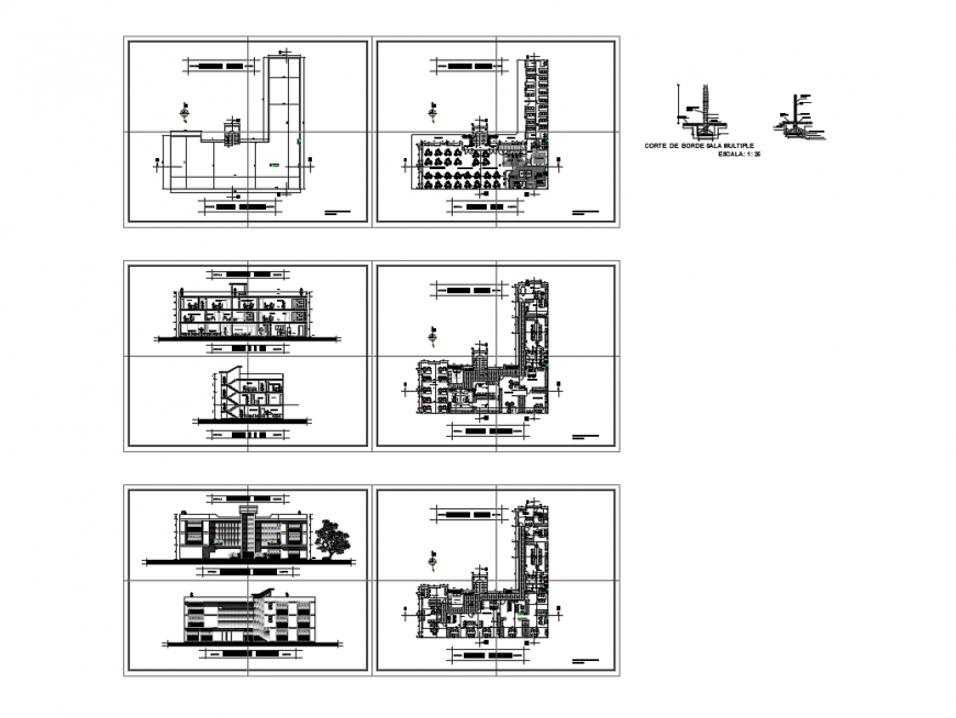 Multi flooring office building elevation, section and floor plan layout details dwg file