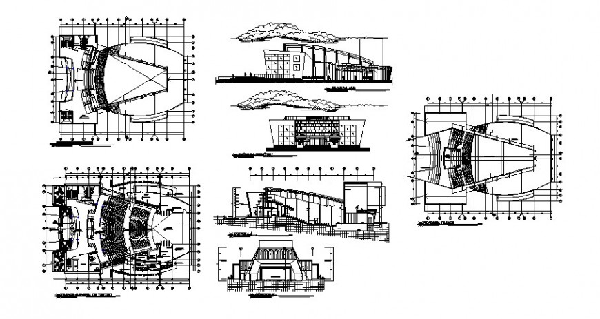 Multi screen theater detail drawing in dwg AutoCAD file.