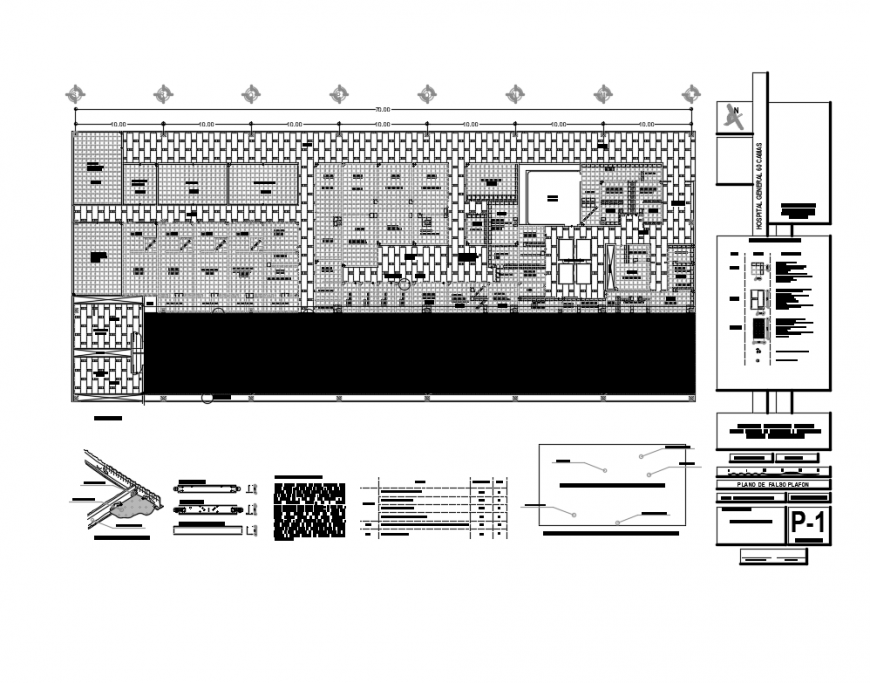 Multi specialist hospital layout plan details with ceiling construction dwg file