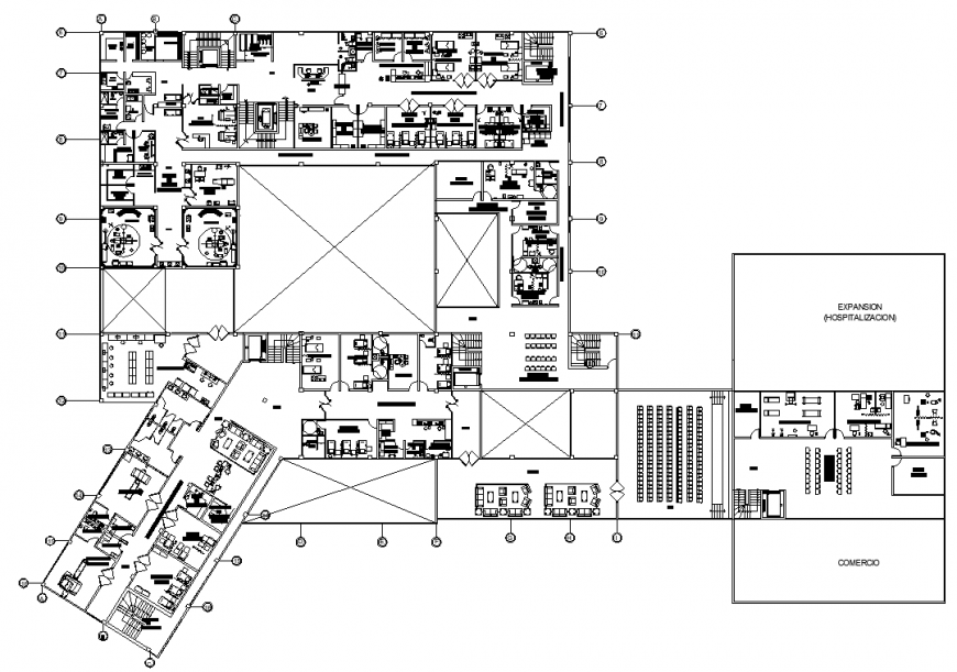 Multi specialty government hospital building drawing in dwg file.