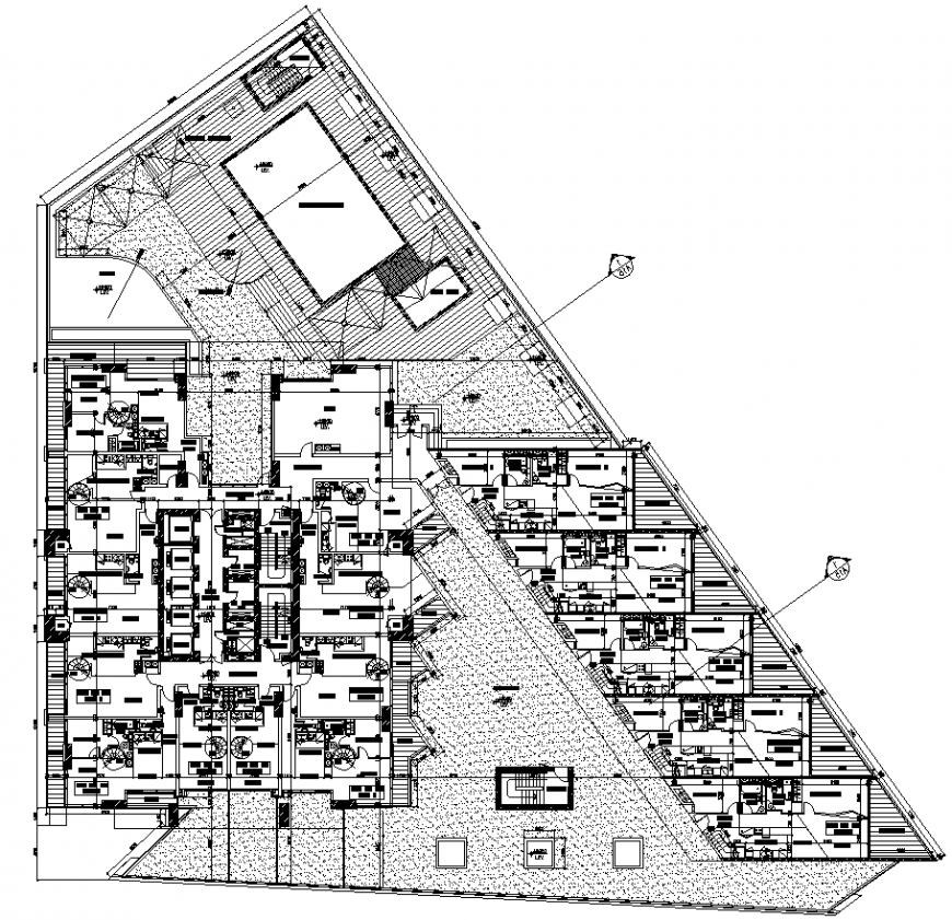Multi storey apartment layout plan drawing in dwg AutoCAD file.