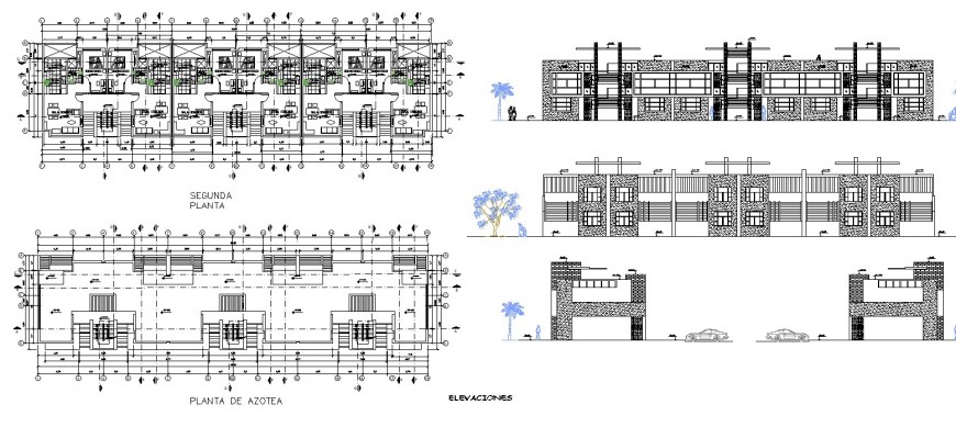 Multi story building detail plan and elevation layout file