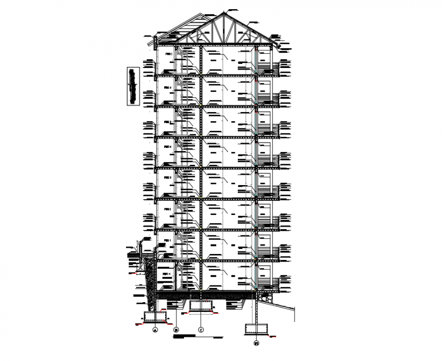Multi story corporate building facade constructive sectional details dwg file