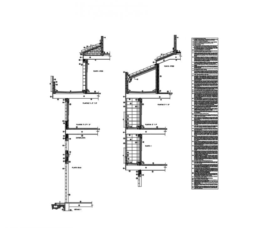 Multi story office building cut section facade details dwg file