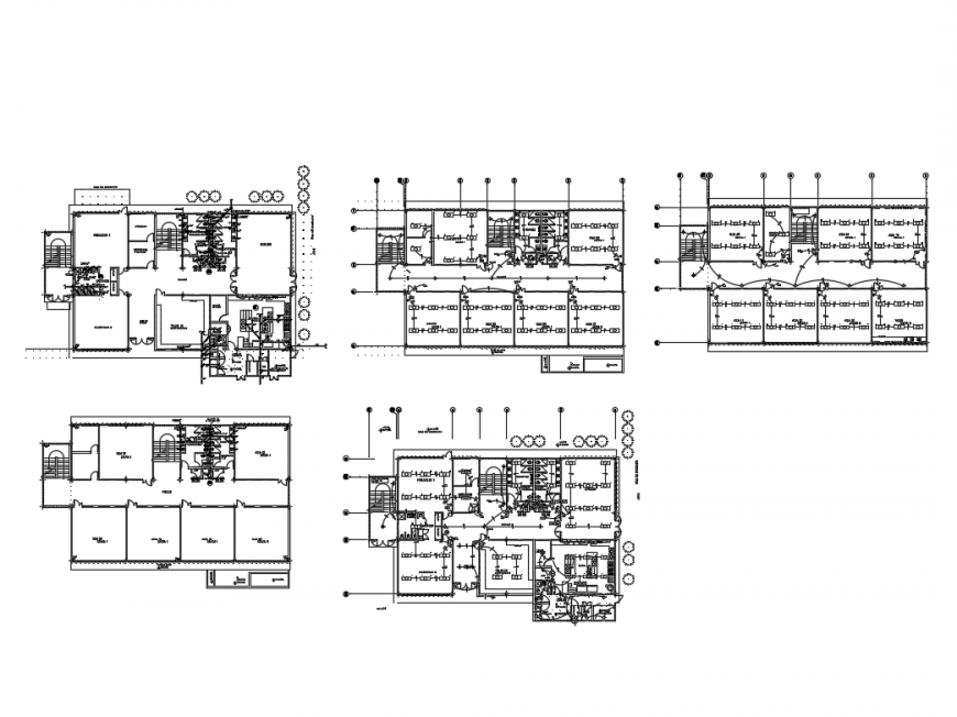 Multi story school building floor plan layout details dwg file