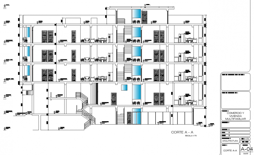 Multifamily apartment building section drawing in dwg file.