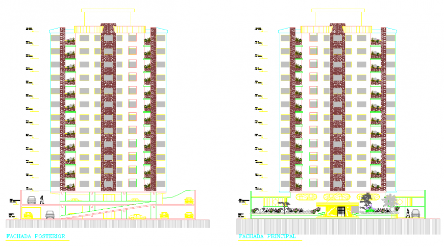 Multifamily building apartment drawing in dwg file.