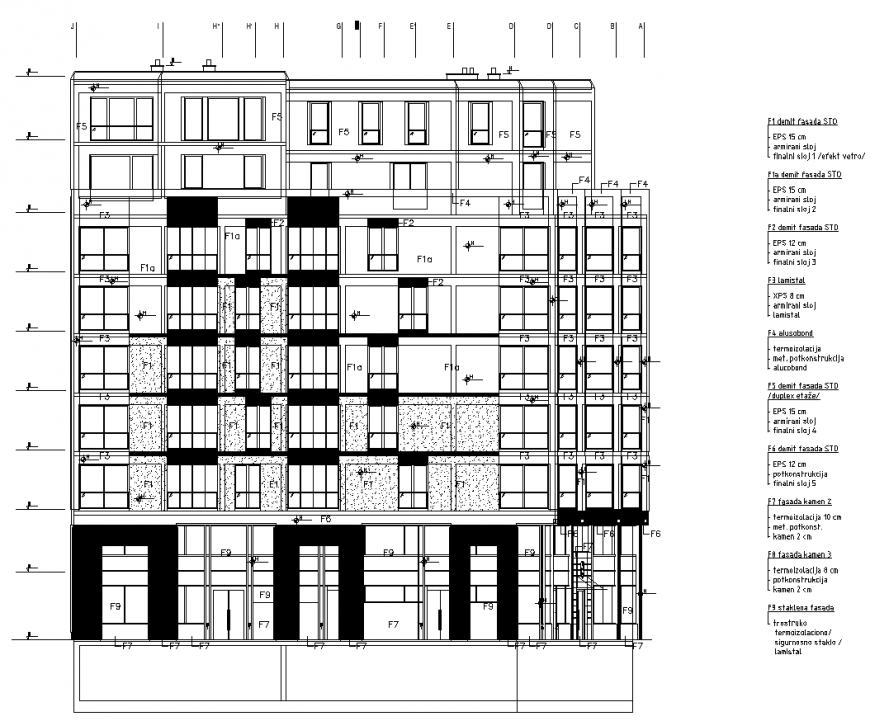 Multifamily building elevation drawing in dwg file.