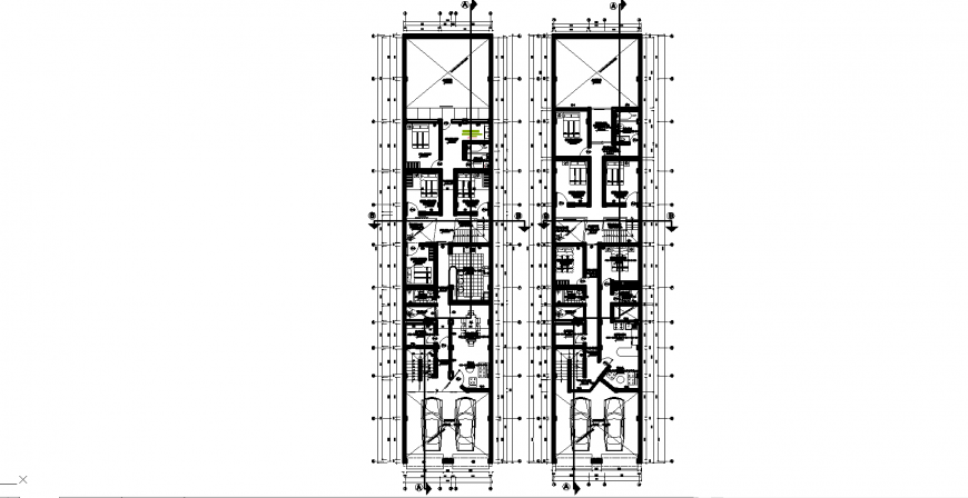 Multifamily house layout plan drawing in dwg AutoCAD file.