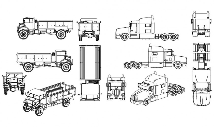 Multiple 2d blocks details for transportation truck dwg file