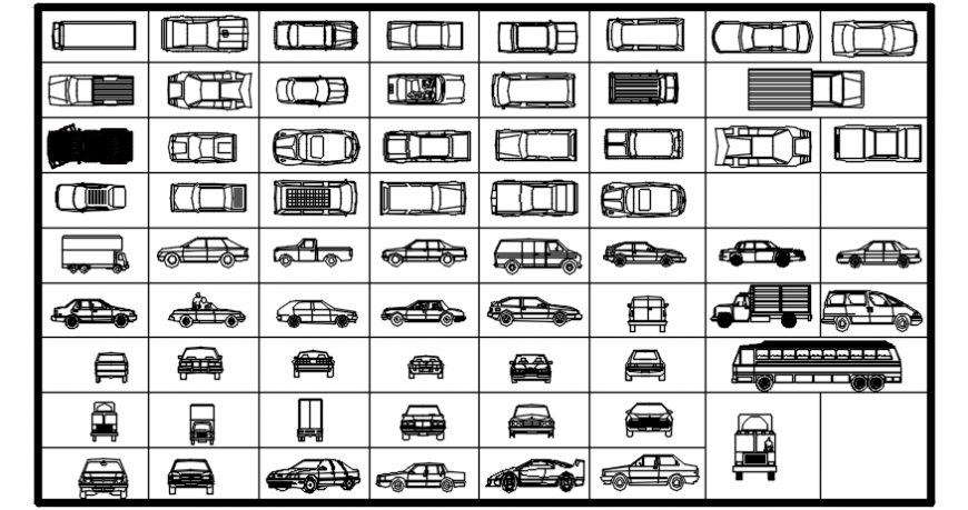 Multiple 2d cars and vehicle blocks cad drawing details dwg file