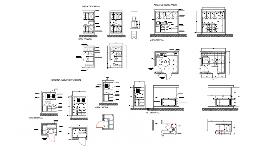 Multiple administration office cabins plan and furniture layout cad drawing details dwg file