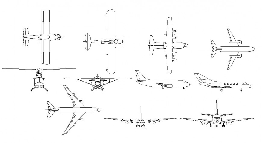 Multiple air crafts and air vehicle elevation blocks cad drawing details dwg file