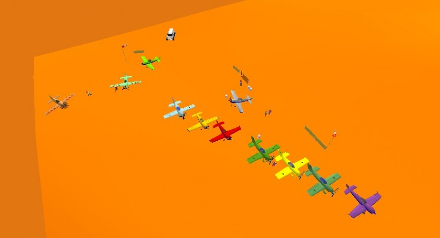 Multiple aircraft 3d model for sky diving cad drawing details skp file