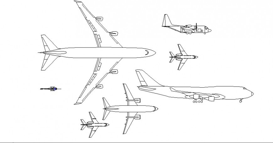 Multiple airplane all sided elevation cad blocks details dwg file