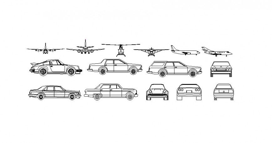 Multiple airplane and car elevation blocks cad drawing details dwg file
