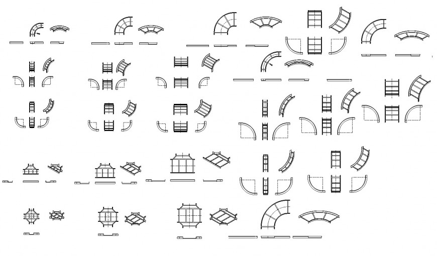 Multiple all shaped staircase elevation blocks drawing details dwg file