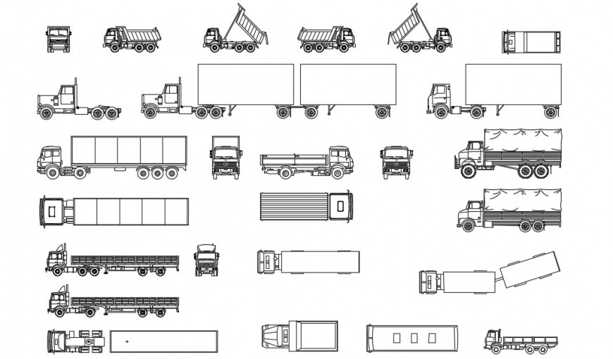 Multiple all type of truck set elevation blocks details dwg file