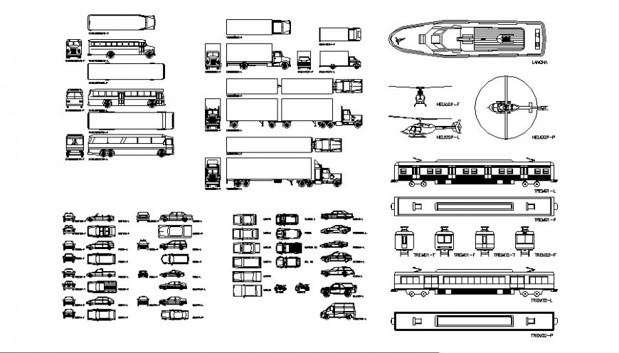 Multiple all types of vehicle cad blocks drawing details dwg file