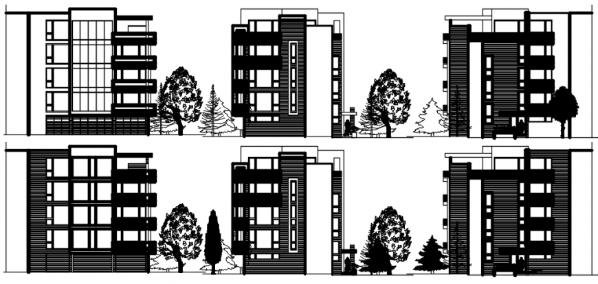 Multiple apartment buildings all sided elevations drawing details dwg file