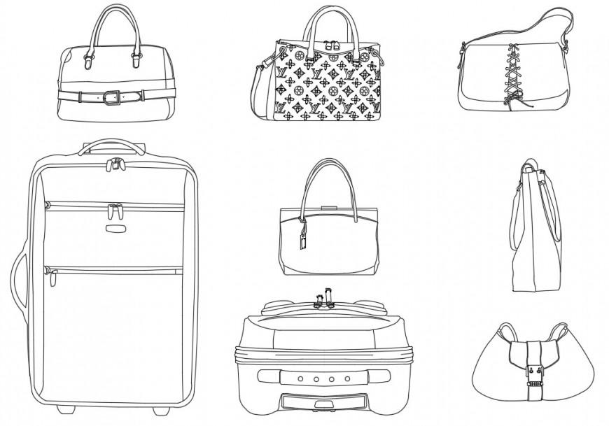 Multiple bag and purse elevation blocks cad drawing details dwg file