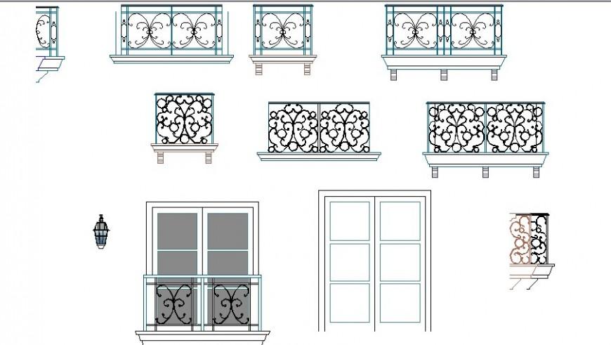 Multiple balcony railing blocks cad drawing details dwg file
