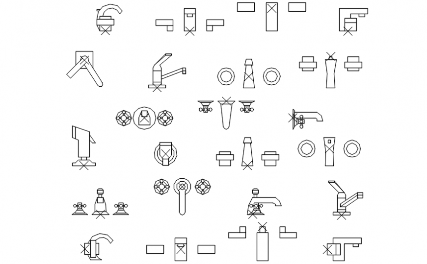 Multiple Bath And Laundry Faucet Blocks Cad Drawing Details Dwg File Cadbull