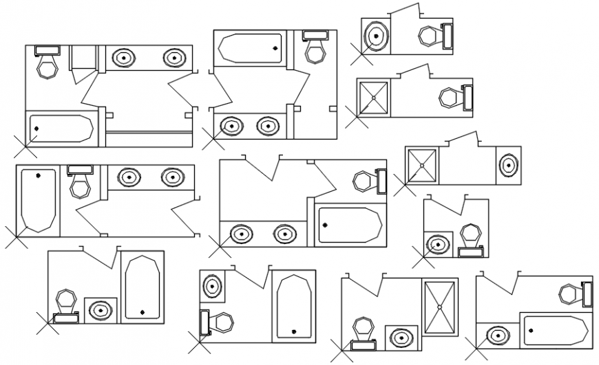 Multiple bathrooms layout plan cad drawing details dwg file