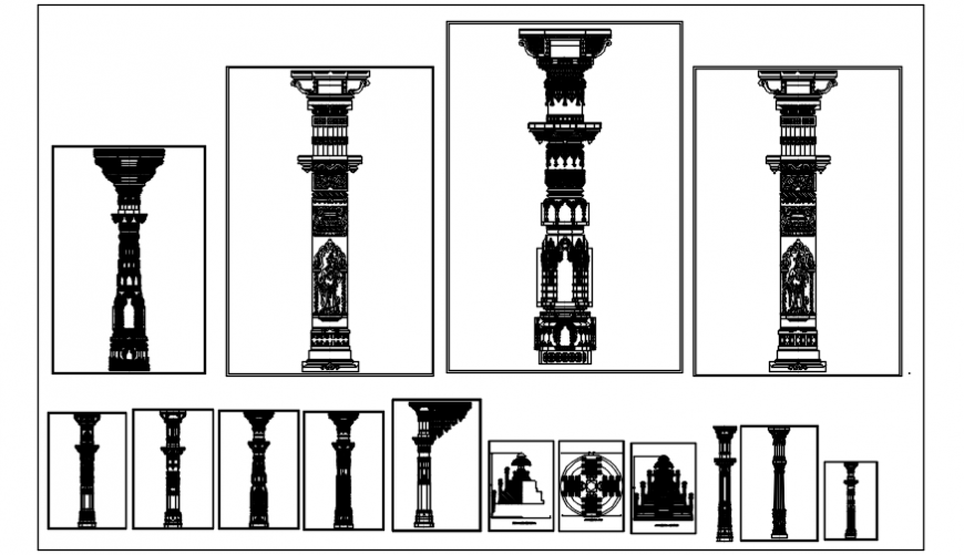 Multiple beautiful pillar elevation blocks cad drawing details dwg file