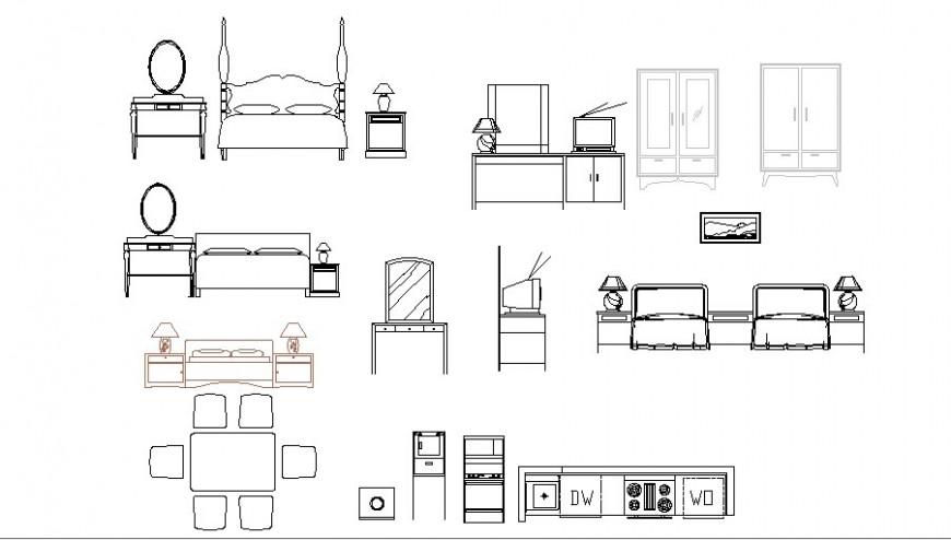 Multiple bedroom furniture blocks details dwg file