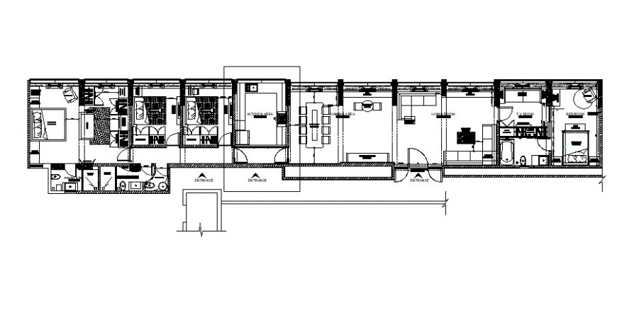 Multiple bedrooms house layout plan cad drawing details dwg file