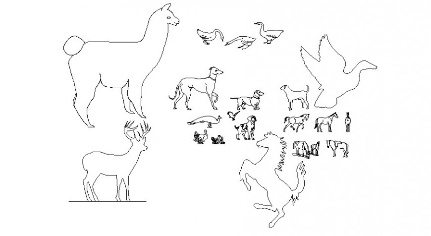 Multiple birds and animal 2d blocks cad drawing details dwg file
