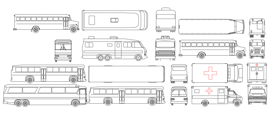 Multiple bus and ambulance elevation blocks drawing details dwg file