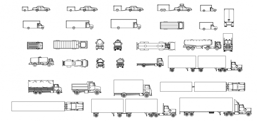 Multiple car,truck and constructive vehicle blocks drawing details dwg file