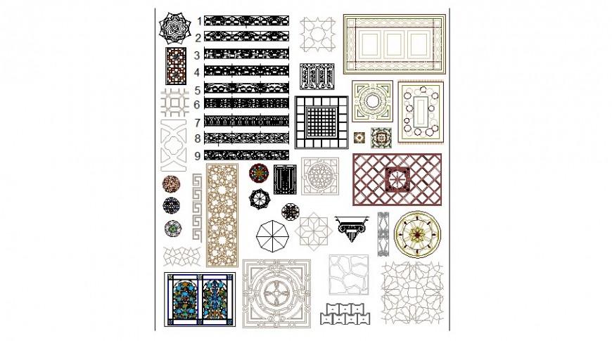 Multiple carpets, tile and interior blocks cad drawing details dwg file