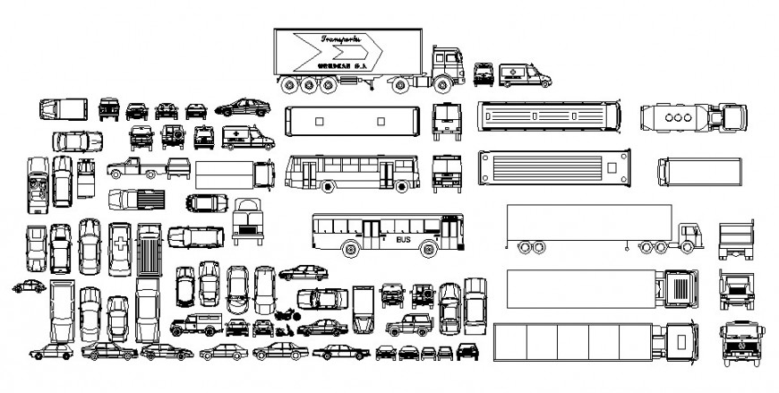 Multiple cars, bus and vehicle blocks cad drawing details dwg file