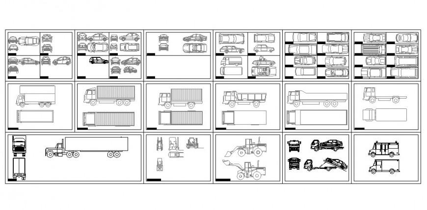 Multiple cars, trucks and transportation heavy vehicle blocks details dwg file