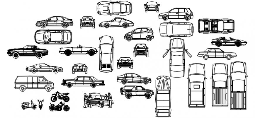 Multiple cars, van and two wheeler elevation blocks cad drawing details dwg file