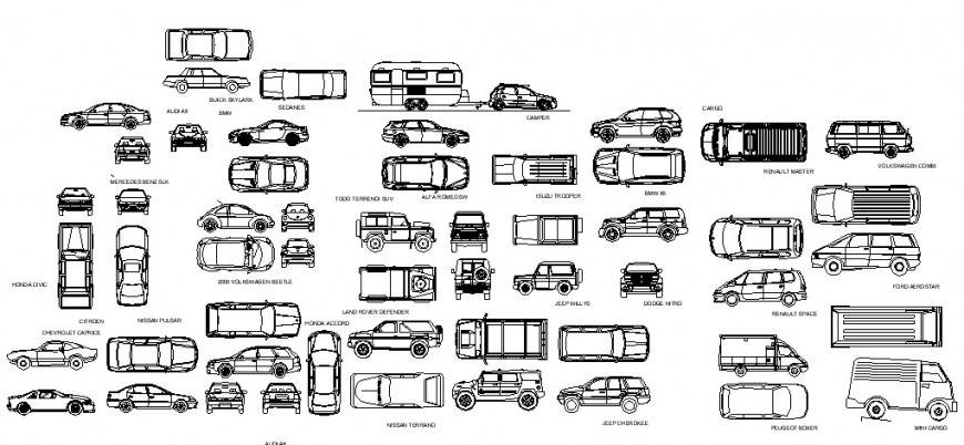 Multiple cars all sided elevation blocks cad drawing details dwg file