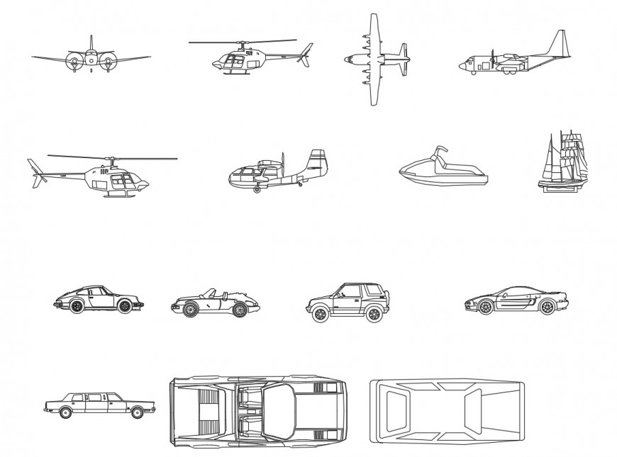 Multiple cars and air vehicle elevation 2d blocks details dwg file