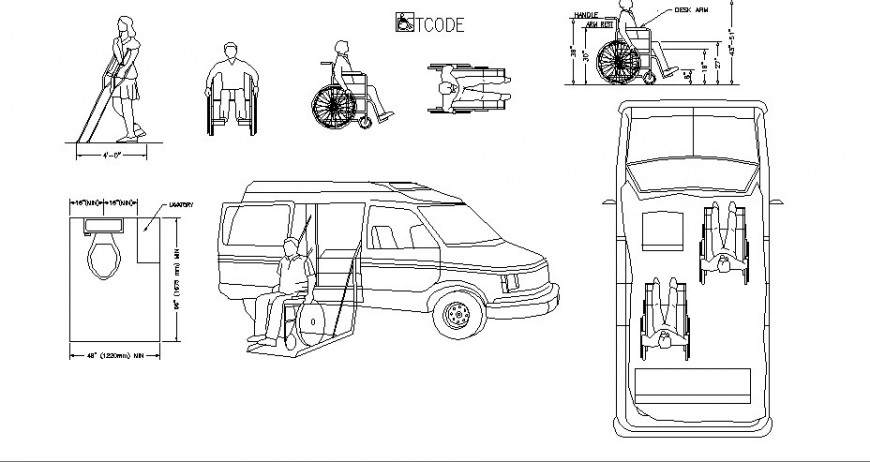 Multiple cars for handicapped and handicapped people blocks cad drawing details dwg file
