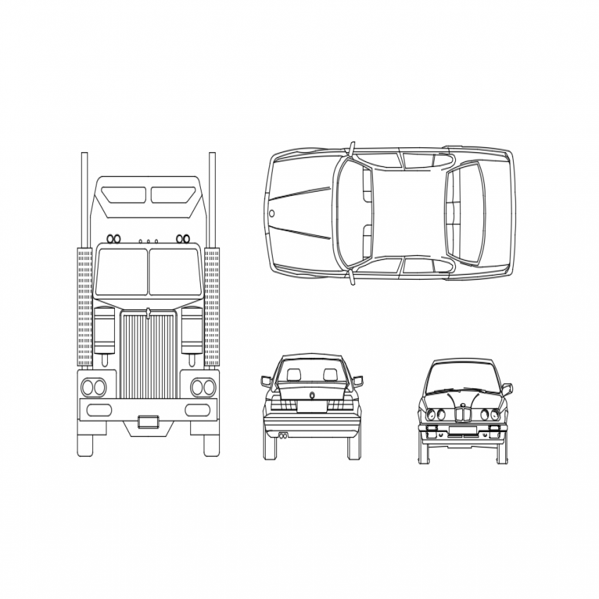Multiple cars front and side view cad blocks design dwg file