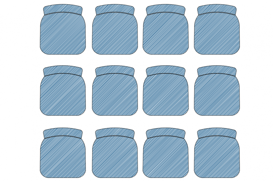 Multiple Chair Block DWG file Top view