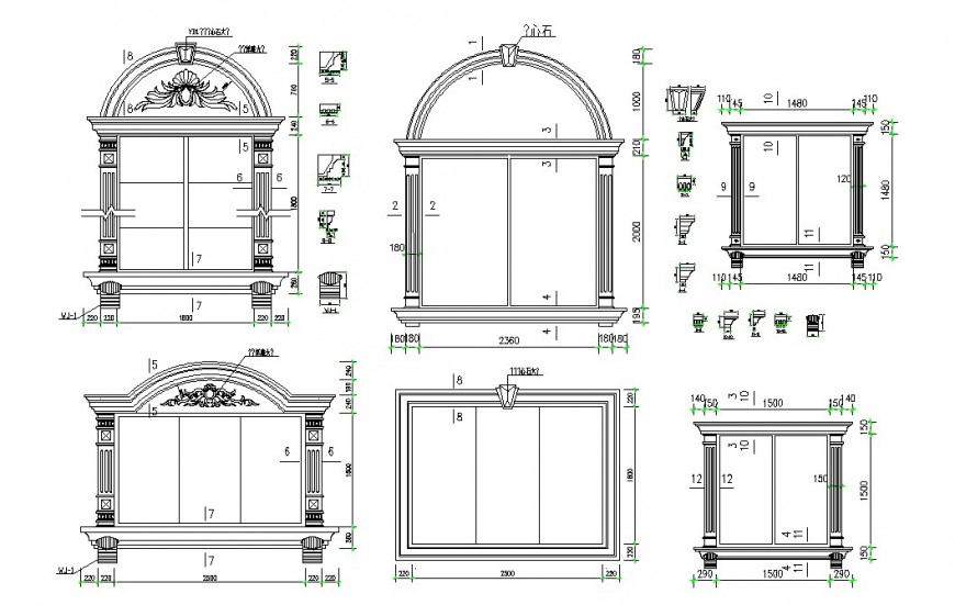 Multiple classic 2d window elevation blocks cad drawing details dwg file