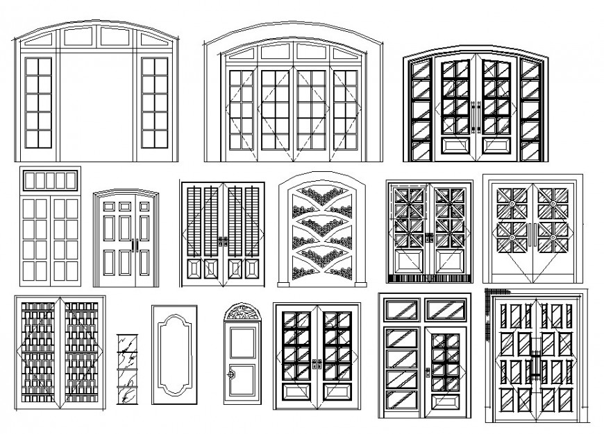 Multiple classic double and single door elevation blocks drawing details dwg file