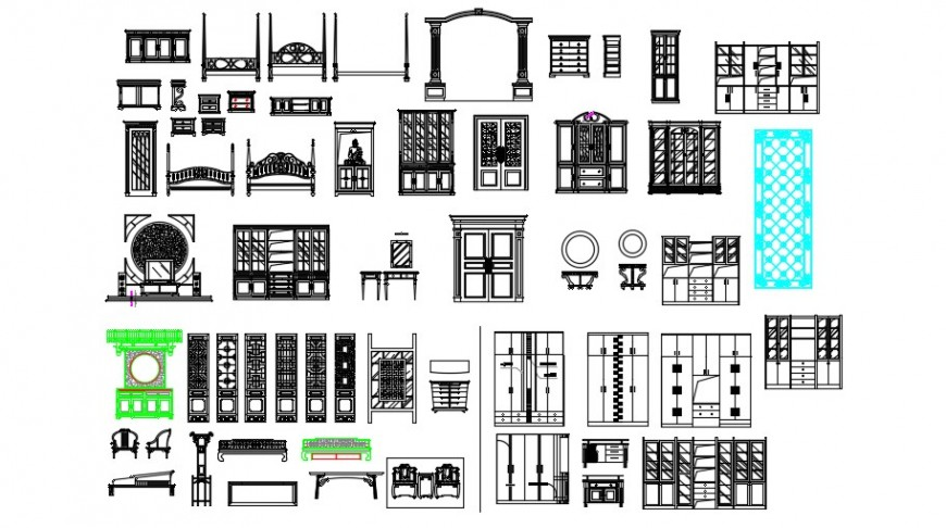 Multiple classic wooden furniture blocks cad drawing details dwg file