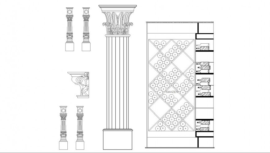 Multiple column and interior blocks cad drawing details dwg file