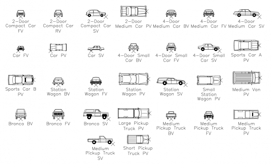 Multiple common and luxuries car elevation blocks cad drawing details dwg file