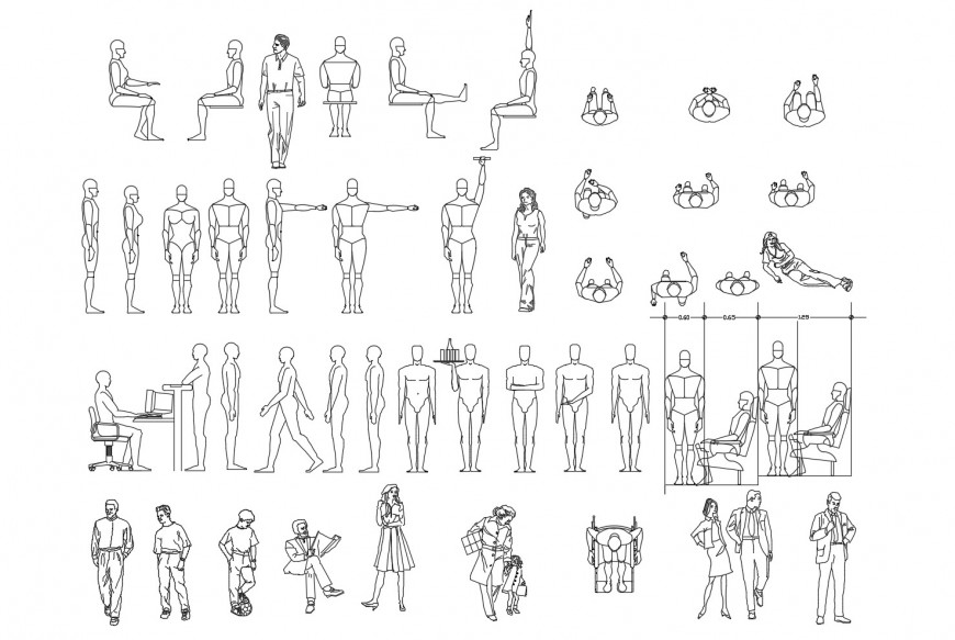 Multiple common and robotic people elevation blocks cad drawing details dwg file