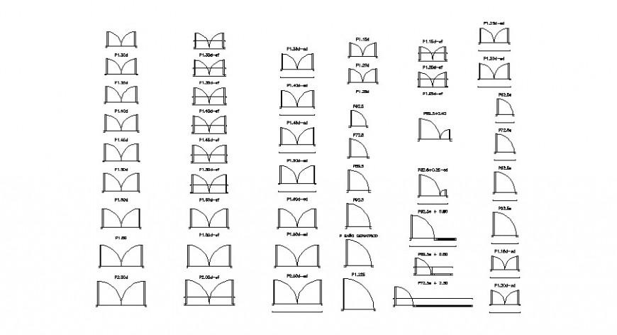 Multiple common door figure 2d blocks cad drawing details dwg file